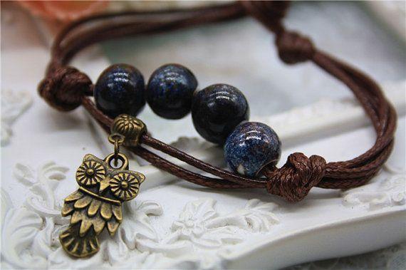 cute owl porcelain bracelet oriental chinese ceramic bead by missvirgouk