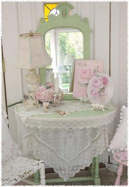 Shabby Chic table and mirror...so pretty...there is the use of the green and pink pastels and vintage linens