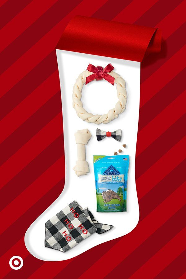 Perk up your pet's stocking stuffers with a festive wreath bone, spiffy plaid bowtie & more.