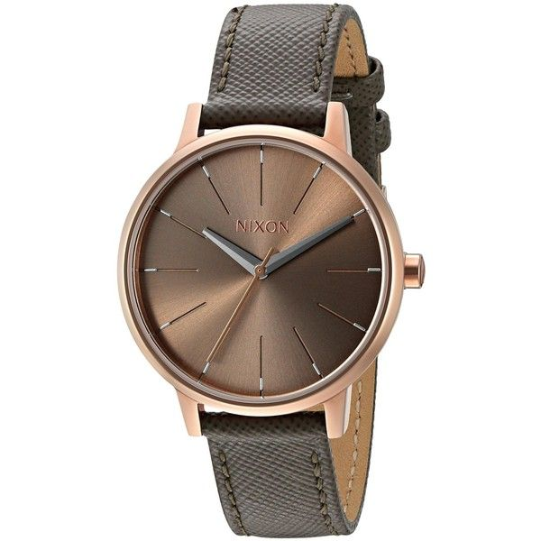 Nixon Kensington Leather Analog Display Japanese Quartz Grey Watch ($125) ❤ liked on Polyvore featuring jewelry, watches, nixon, nixon jewelry, quartz jewelry, leather wrist watch and leather watches