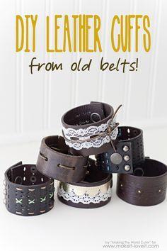 #pulseras de #cuero hechas de #cinturones viejos #bisutería