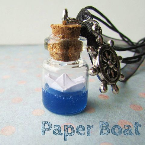 Paper boat glass necklace