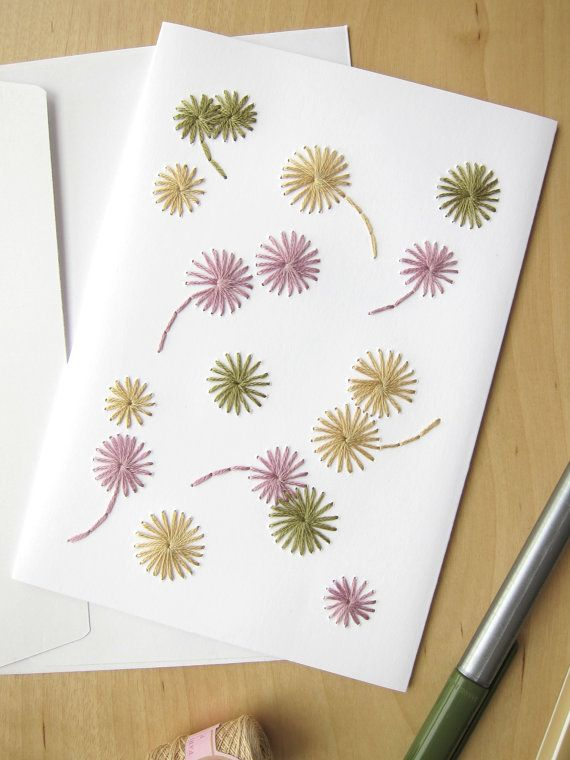 Hand embroidered card tricolor flowers pattern by LesFilsRouges