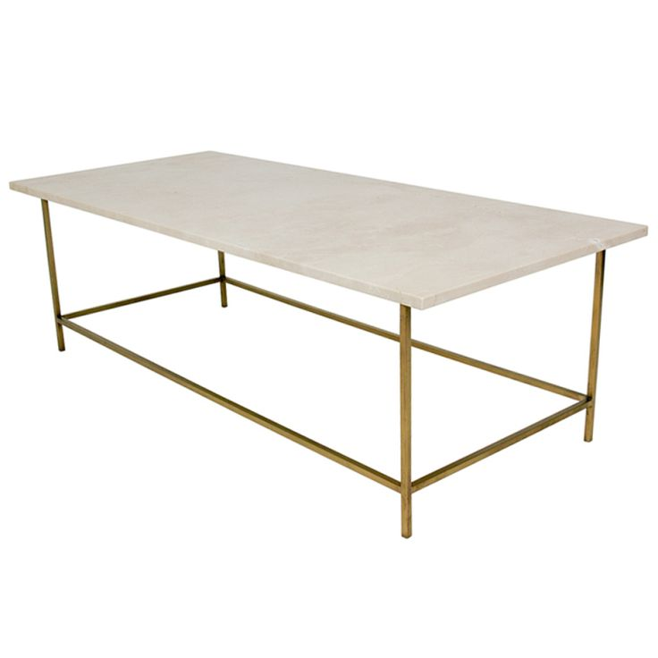 The perfect coffee table. 1950s Modernist Brass and Marble Coffee Table by Paul McCobb