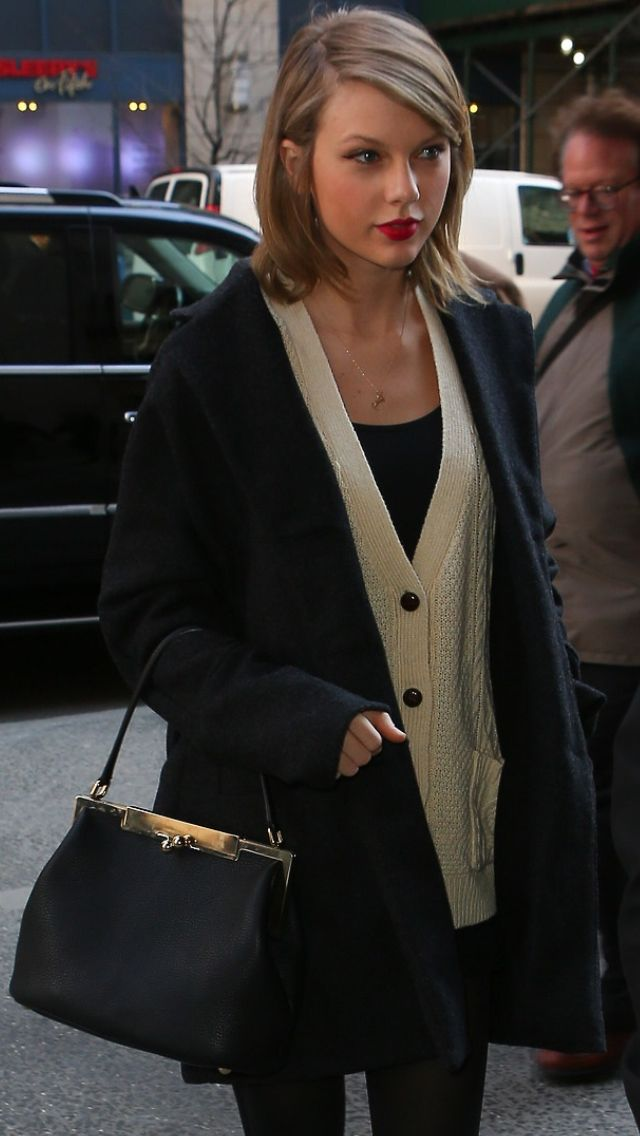 NYC 3/24/14 // her hair is perfection and it reminds me of a shorter version of her hair in the Story of Us video!