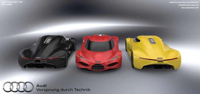 The target was design an ELEGANT Audi Hypercar. I used a RETRO style inspired in the Auto Union race cars Type C, Type D and Type C Streamline.  You can see clearly this retro style in the front grill and in the top.  I choose this kind of grill for differentiate an expensive hypercar from the usual Audis.