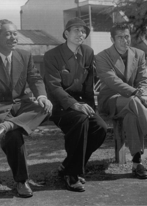 Akira Kurosawa with his two most frequently-used lead actors, Takashi Shimura and Toshirō Mifune