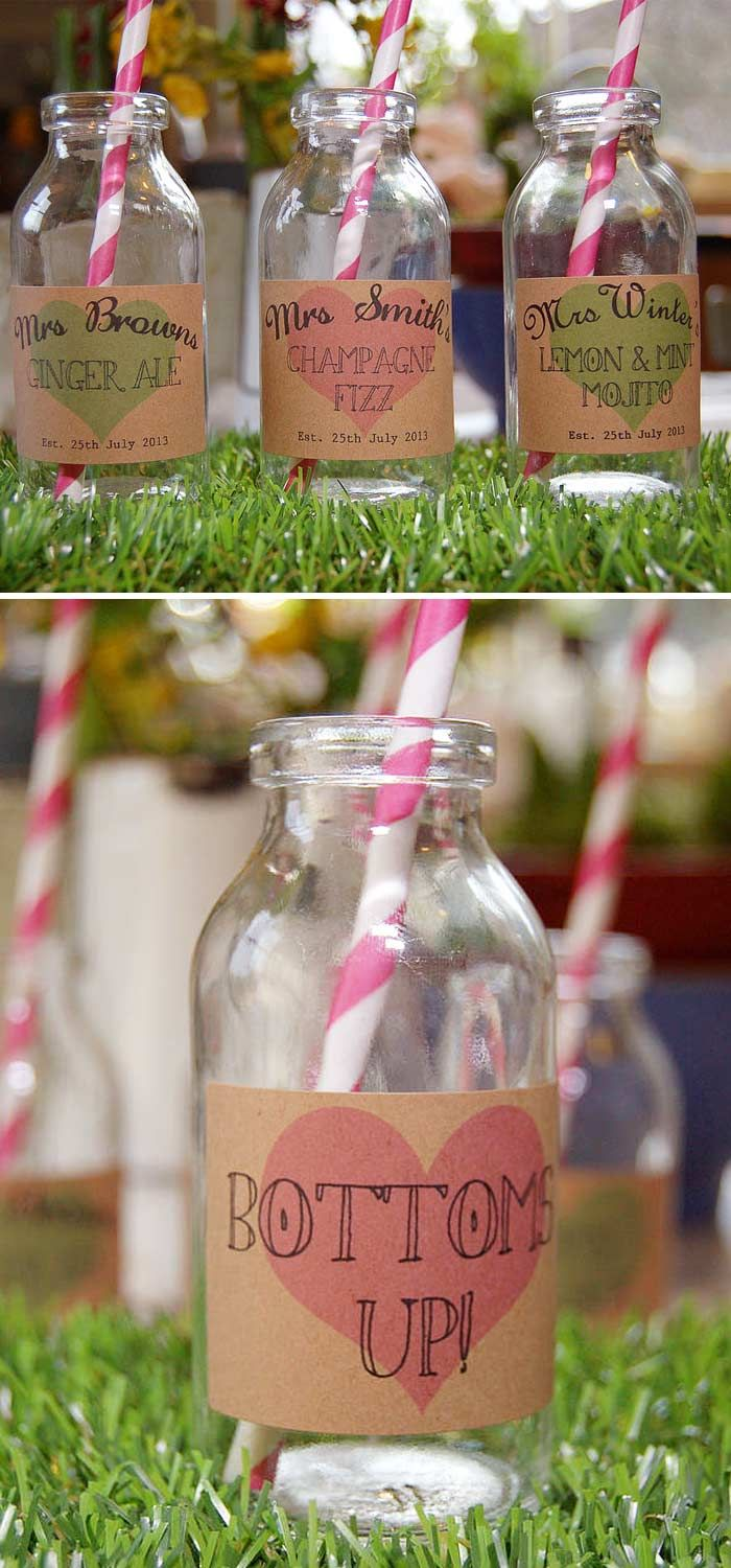 Bottoms up! These labels from A Bird & A Bee would fit right in with your décor if you're planning a shabby chic themed wedding reception