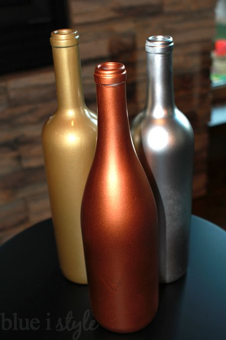 blue i style: {decorating with style} Metallic Wine Bottle Vases for Fall