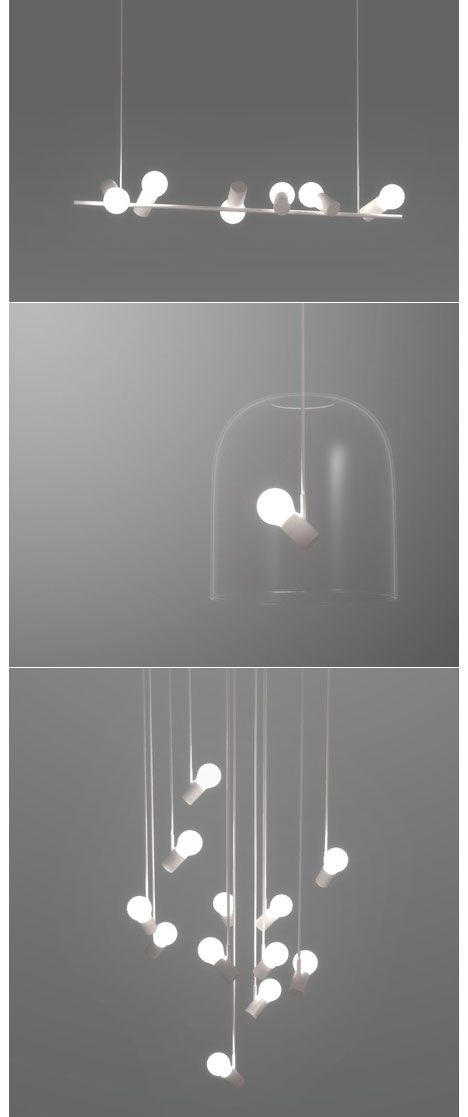 bird lamps - angled bulb sockets | lighting . Beleuchtung . luminaires | Design: Zhili Liu | 와 누가봐도 새임ㅠㅠ 이거 좋다