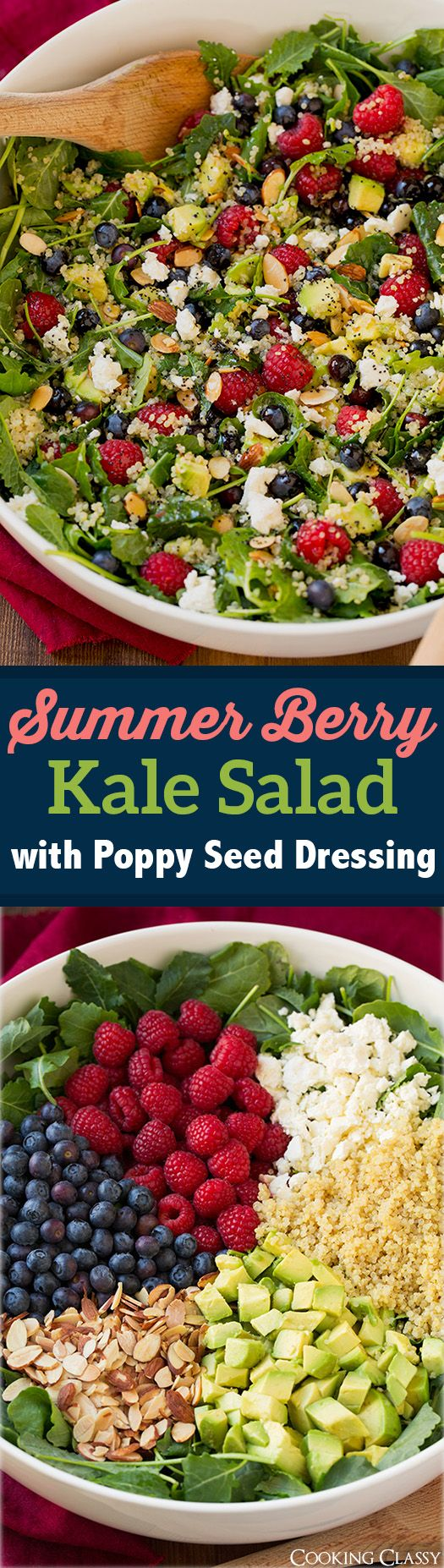 Summer Berry Kale Salad with Poppy Seed Dressing - packed with superfoods and totally delicious! Perfect summer salad!!