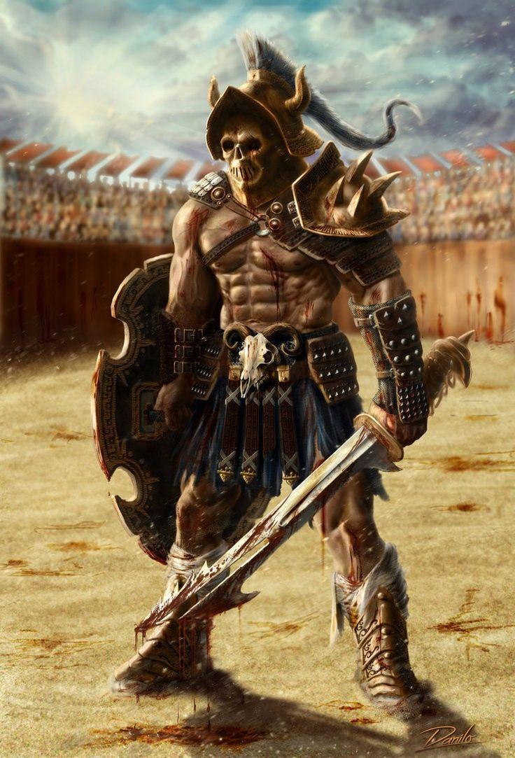 Skull Mask Gladiator Fantasy Warrior Fantasy Characters