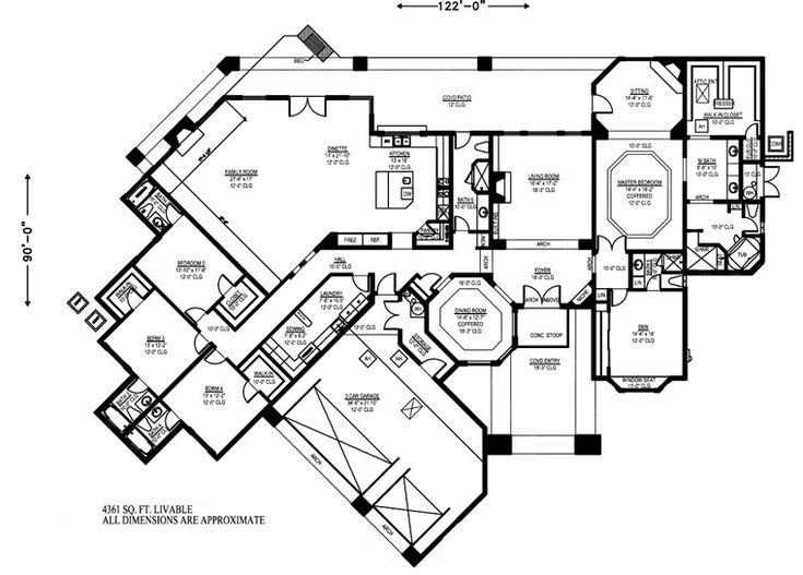 543 best images about floor plans on pinterest european for House plans over 4000 square feet