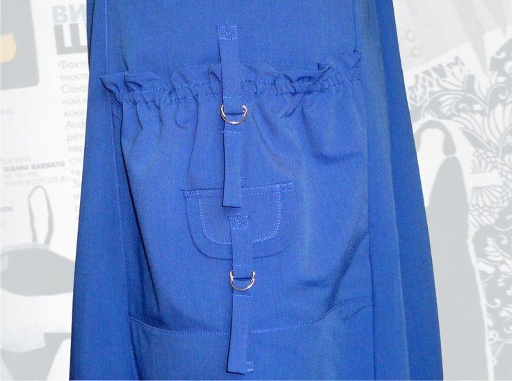 60$ Cарафан для полных женщин в спортивном стиле со стильными карманами и клапанами с расцветкой под джинс фото кармана крупным планом Артикул 586, р50-64