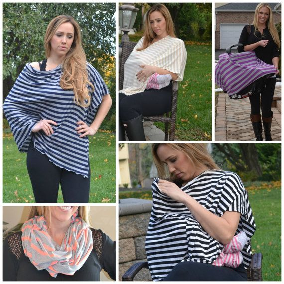 FOUR SIZES! More Fabrics! Nursing Shawl Nursing Cover Poncho Infinity Scarf Breastfeeding Cover Stripe