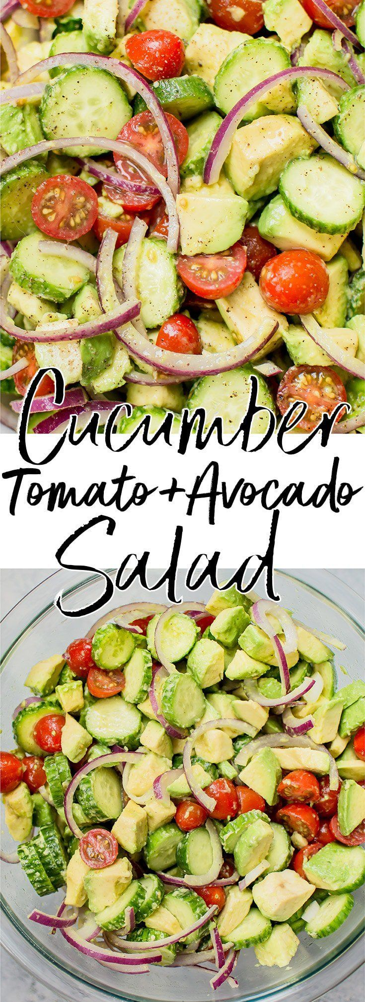 This easy cucumber tomato avocado salad is healthy, fresh, and bursting with flavor. It comes together fast and uses everyday ingredients. #cucumbersalad #tomatosalad #avocadosalad #veganrecipe #saladrecipe #vegetarianrecipe #healthyrecipe