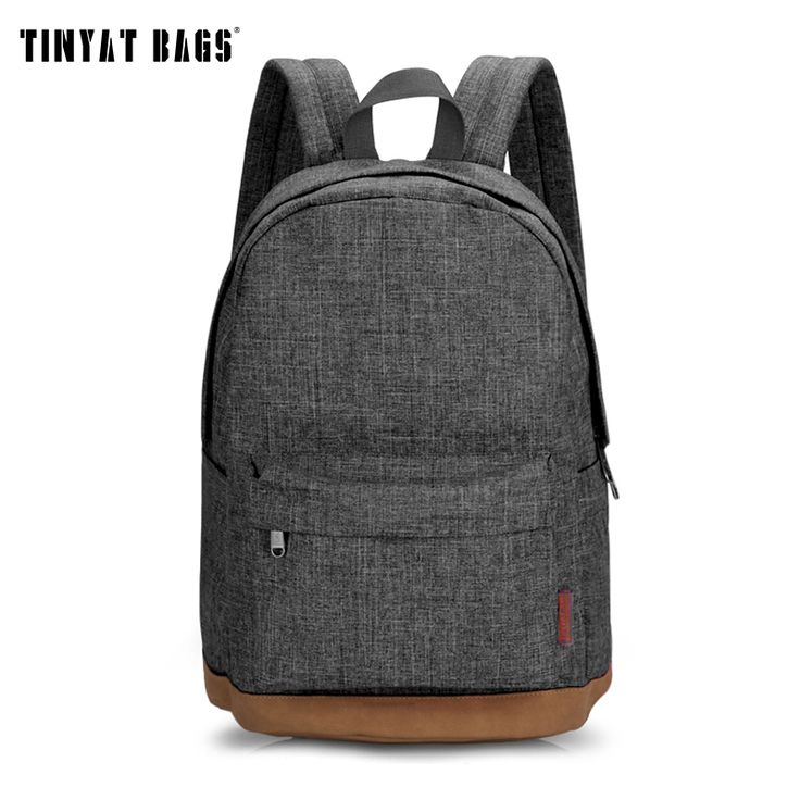 TINYAT Men Male Canvas College Student School Backpack Casual Rucksacks Laptop Travel Bag Backpacks Women Mochila T101 Gray ** Offer can be found by clicking the image