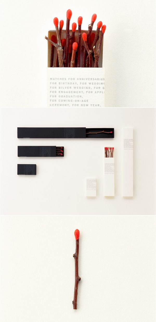 Cerillas elegantes en forma de ramas, twig matches, un detalle muy natural #diseño #packaging ideal