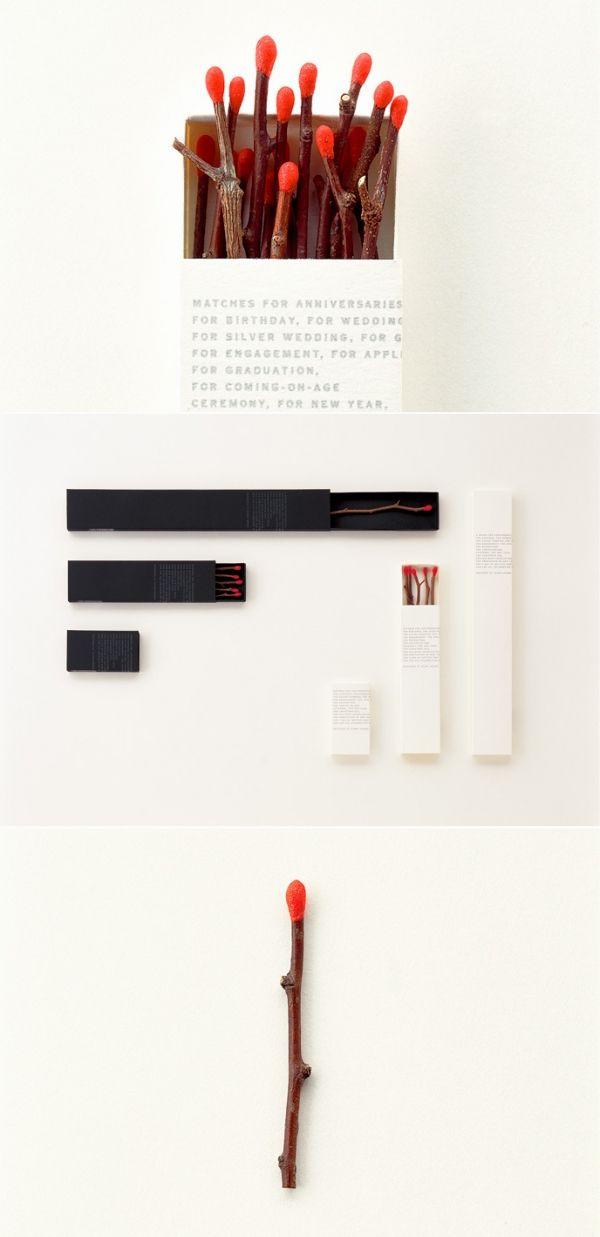 Cerillas elegantes en forma de ramas, twig matches, un detalle muy natural #diseño #packaging ideal