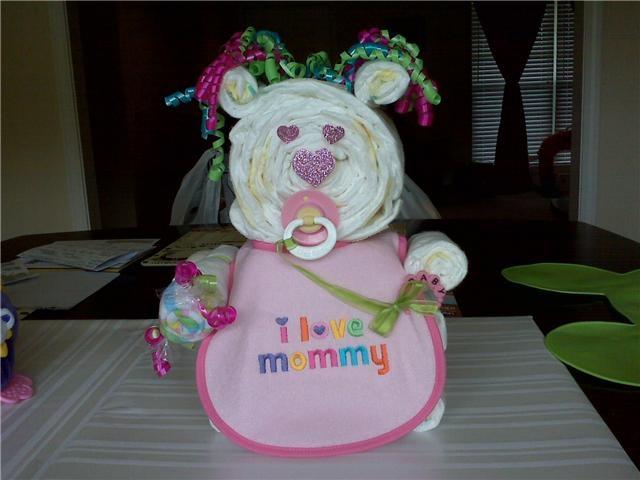 For a girl bear diaper cake