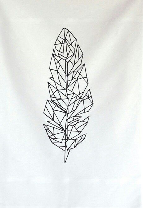 Geometric feather tattoo.Yeah, this type stuff is pretty great. Maybe Northshore inspired or some kind of natureish theme? National Parks? Yosemite? Deer? idk...