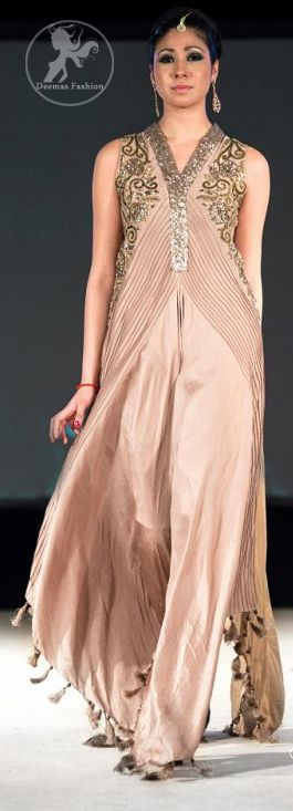 Light Brown Silkyevening  Gown with Embellished Bodice | Latest Pakistani Fashion 2013 Bridal Dresses Formal Wear