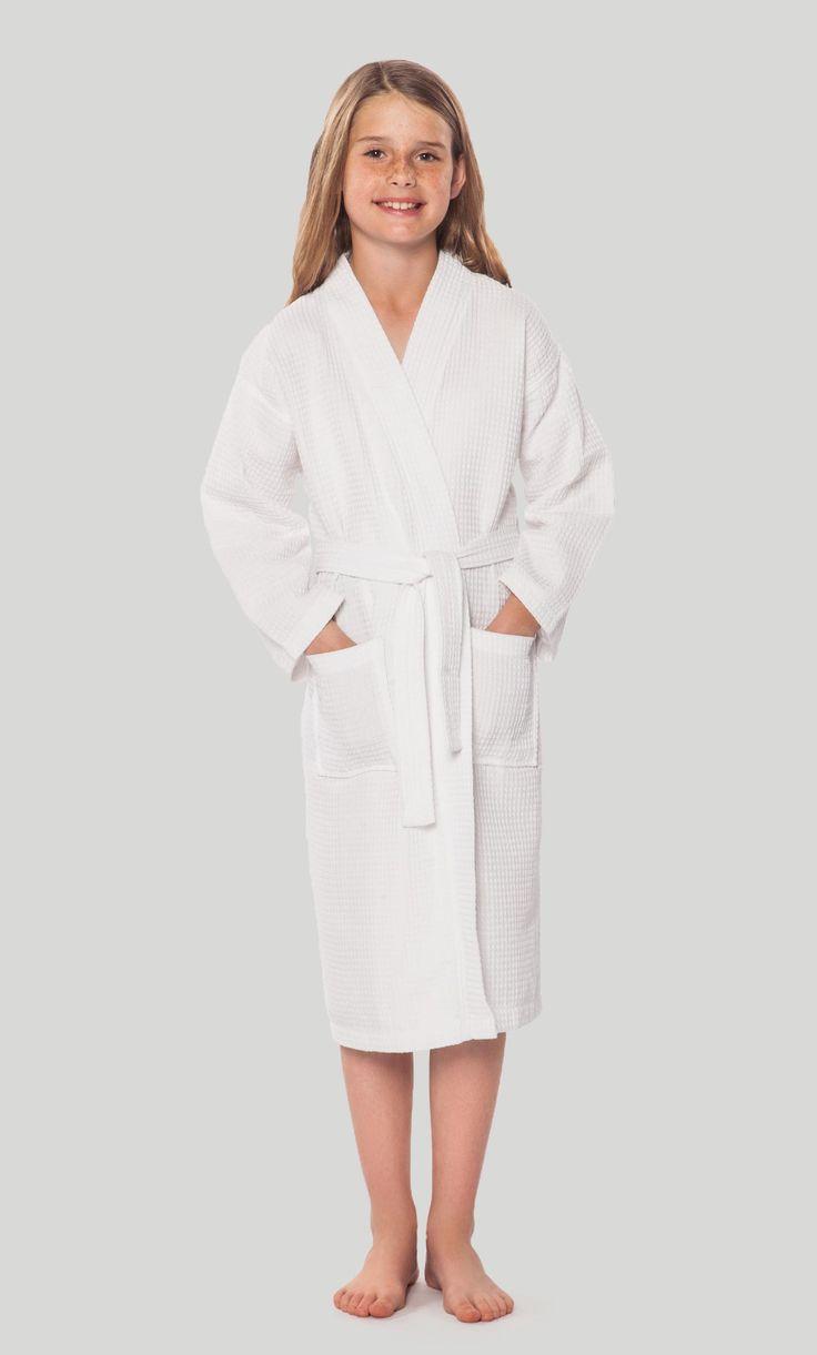 Kids Bathrobes :: Waffle Kids Bathrobes :: White Waffle Kimono Kid's Robe - Wholesale bathrobes, Spa robes, Kids robes, Cotton robes, Spa Slippers, Wholesale Towels