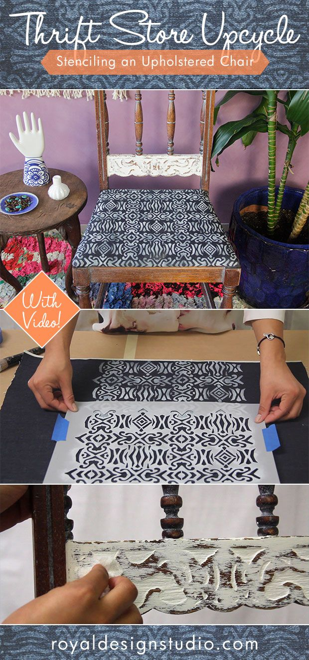 DIY Painted Furniture Thrift Store Upcycle: Stenciling an Upholstered Chair - How to Paint Upholstered Fabric VIDEO Tutorial