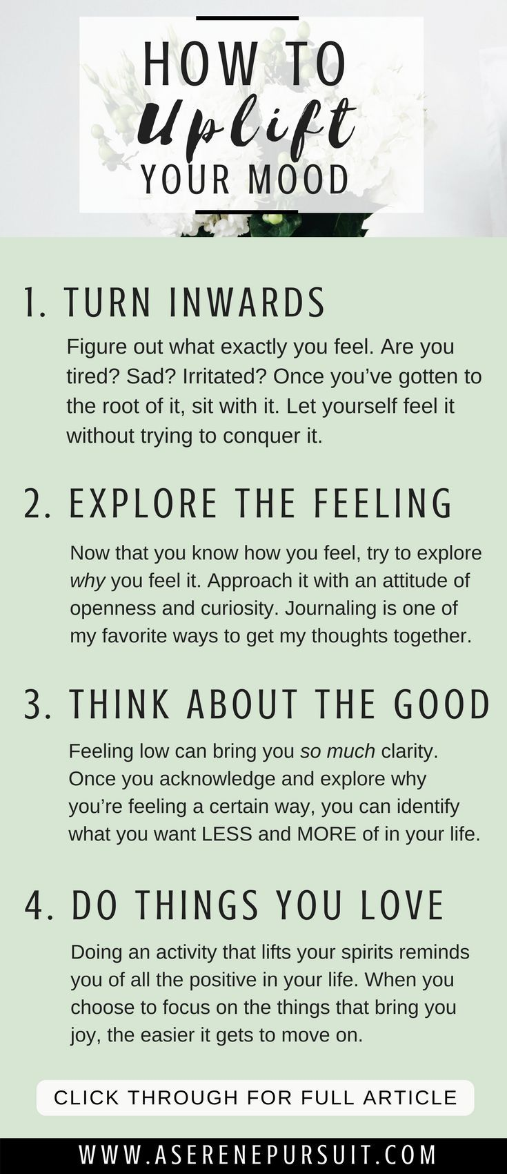 How to Improve Your Mood   We all go through low moods – but it's about arming yourself with the tools you need once you're ready to conquer it. Here are 4 tips to help you feel better and find your way back to happiness. mental health  uplift your mood   improve mood articles   improve mood life   personal growth   positive mindset   self-improvement   #positivethinking #mindset #happy