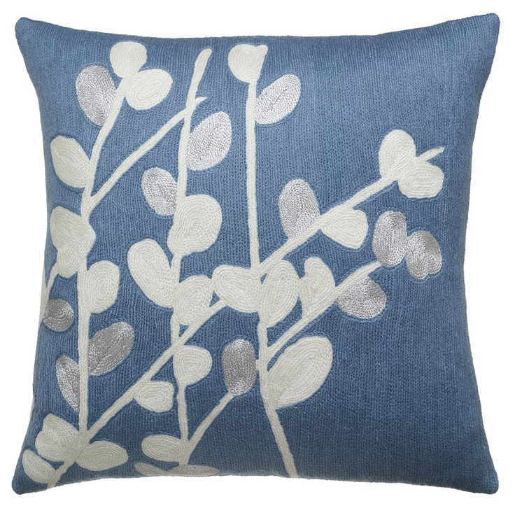 Judy Ross Textiles Hand-Embroidered Chain Stitch Spray Throw Pillow cornflower/cream/silver ...