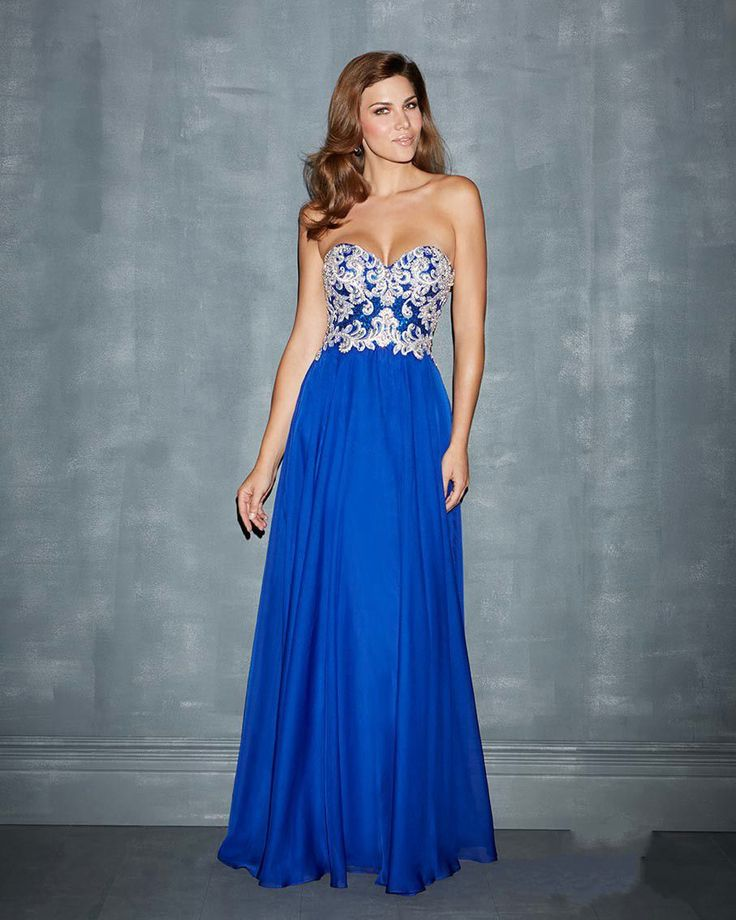 Draping Beaded Chiffon Royal Blue Prom Dresses. I just found my bridesmaid dresses but I need this dress in navy and a gold over-lay.