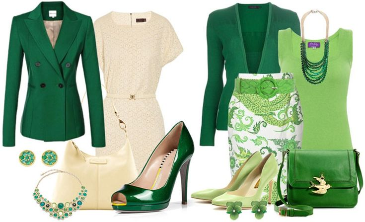 Зеленые цвета в одежде для цветотипа осень