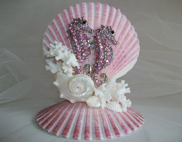 Beach Theme Seahorse Coral Shell Wedding Cake Topper, Jeweled Pink Seahorse Shell Decor, Beach Wedding Bridal Decor by SeashellBeachDesigns on Etsy