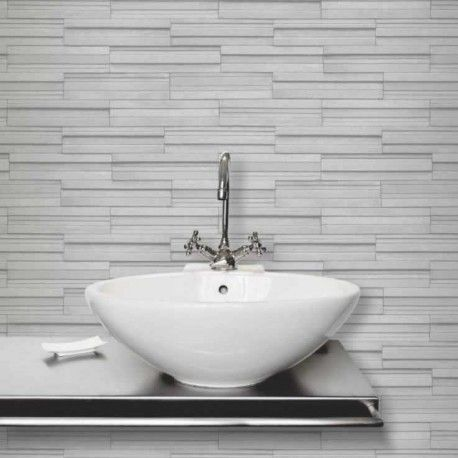 Stone Grey Vinyl Modern Tile Effect Kitchen U0026 Bathroom Wallpaper Light Grey  Rectangular Tile Effect Kitchen