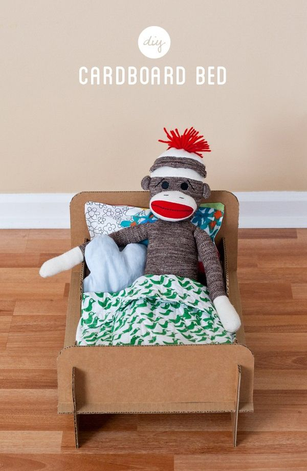 DIY cardboard doll bed from Ambrosia Girl: Beds, Diy Cardboard, Sock Monkey, Sockmonkey, Kid