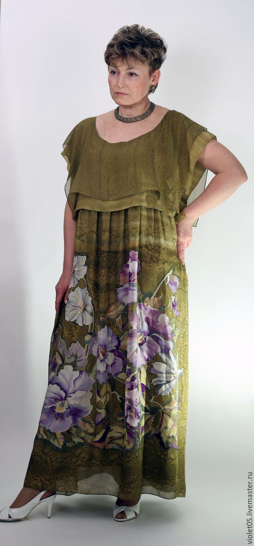 """Купить Двойное Платье+Шарф """"Анютки"""" в стиле бохо батик - вечернее платье, Батик, шарф"""