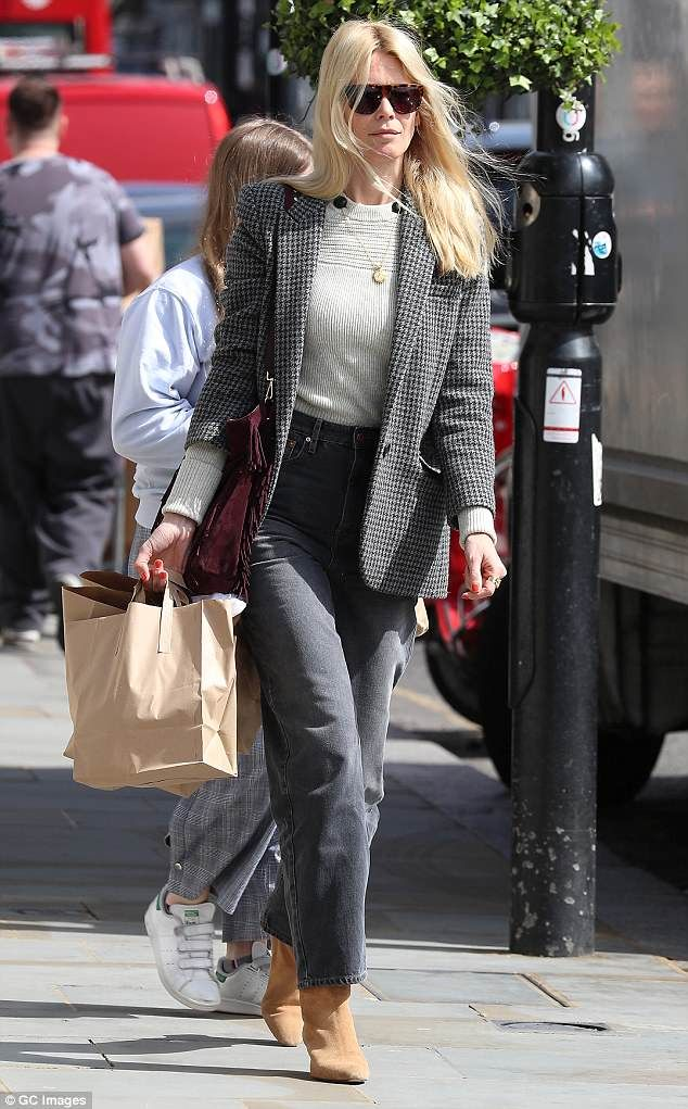 Claudia Schiffer Looks Chic In A Grey Tweed Jacket For Family Outing Jacket Outfit Women Tweed Jacket Womens Tweed Jacket