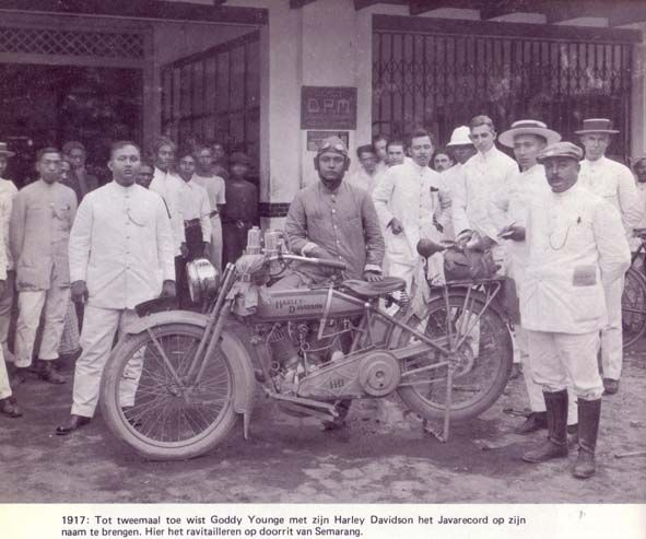 "1917. Goody Younge with his Harley Davidson, posed at Semarang on second records trip ""Batavia to Soerabaja by motorcycles"" (Jakarta to Surabaya)"