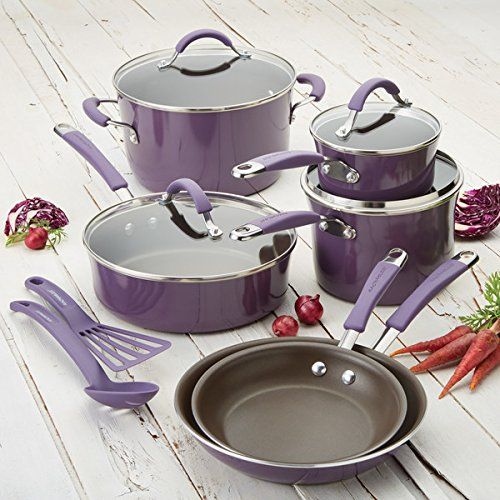 Cook your next meal with this highly-functional and engaging cookware set from Rachael Ray. This 12-piece set is available in a satisfying lavender color and features a non-stick coating, rubberized handles, shatter-resistant glass lids, and a difficult, stain resistant, enamel porcelain exterior. These pieces are oven secure as much as 400 degrees Fahrenheit and
