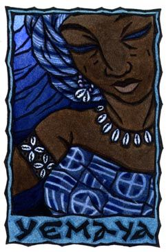Yemaya is the Yoruban Orisha or Goddess of the living Ocean, considered the Mother of All.