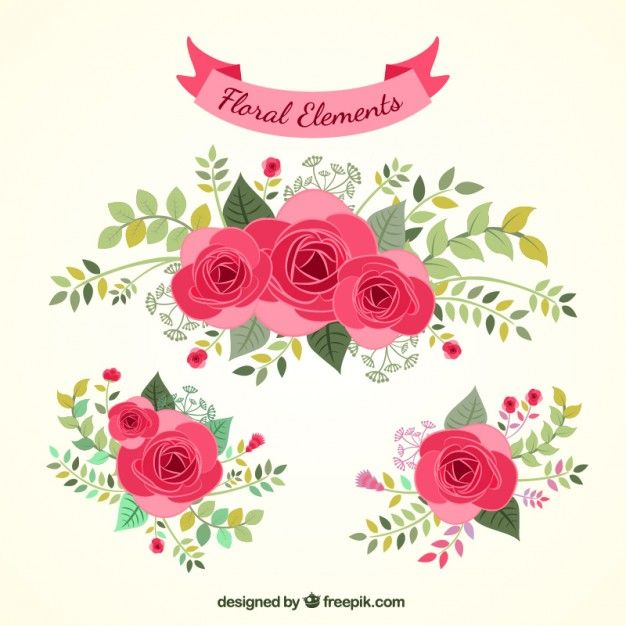 Hand drawn floral elements Free Vector