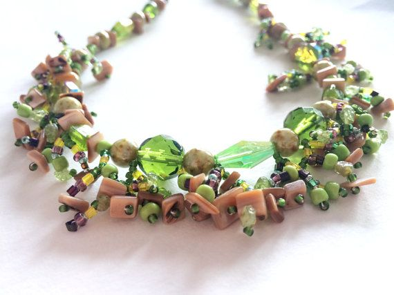 Green Brown and Cream Boho Beaded Necklace. by AriadnesCreations