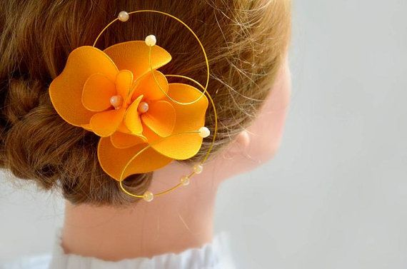 Orange fascinator Wedding headpiece Hair flower Hair clip Wedding hair accessories Bridal hair piece by #MyArtDeco