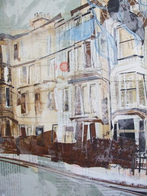Eyre Crescent, New Town Collage with Monoprint and Wax 2016 SOLD