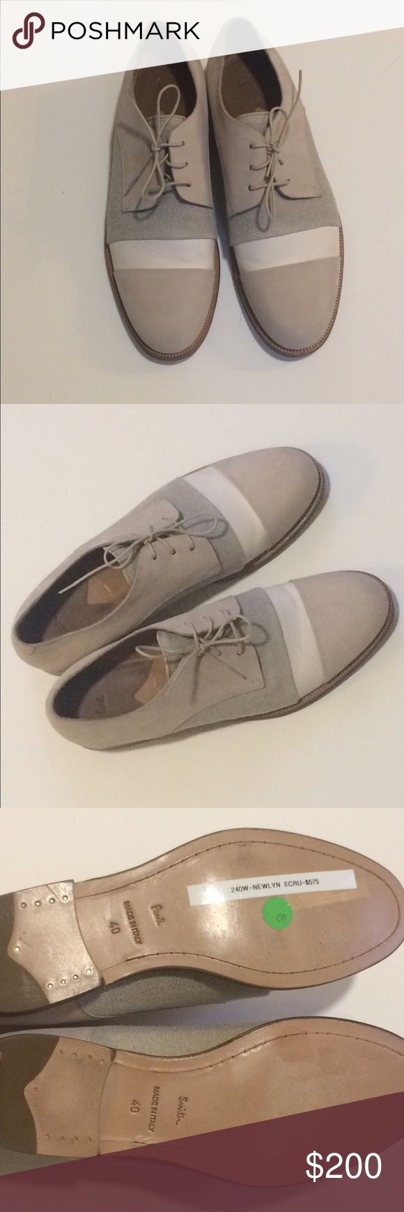 *NWT* Paul Smith Nubuck & Linen Derby Shoes *NWT* Paul Smith Ecru Nubuck & Linen Derby Shoes. Size 40. Pls be advised: They run a bit narrow through the widest part of your foot (where band is). Leather soles. A classic, cool shoe for the warmer weather. Anthropologie Shoes Flats & Loafers