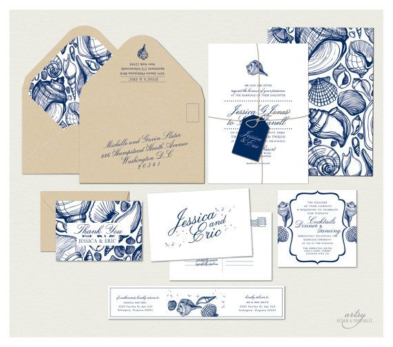 Navy Blue and Kraft Beach Wedding Invitations with sea shells. Destination wedding. Very classic and elegant