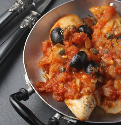 Chicken with tomatoes, olives and capers recipe...