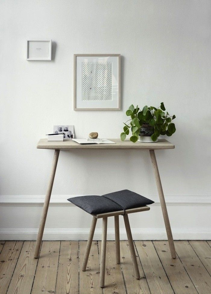 A desk area of the Georg Stool and Console Table by Skagerak, Remodelista