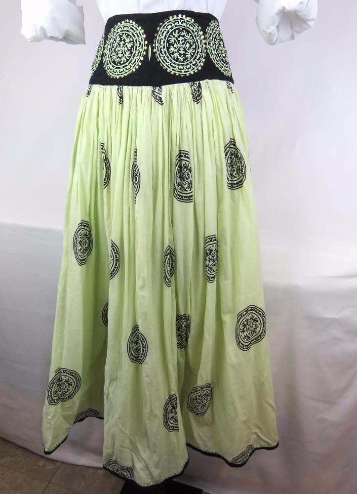 For the Republic Skirt Green Full Length Size 4 Cotton Flared Artsy Gypsy Punk #FortheRepublic #FlareSkirt