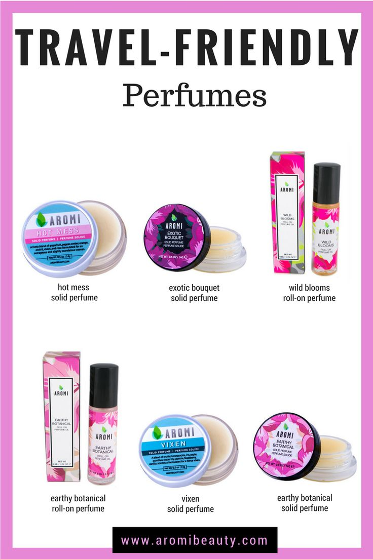 Travel-Friendly Perfume Options Solid perfume and roll-on perfume oils are portable and are travel-friendly.    travel perfume | solid perfume | solid fragrance | travel accessories | roll-on perfume oils | rollerball perfume | women's perfume | women's gift idea | girlfriend gift ideas | girl gift | perfume | purse perfume |   http://www.aromibeauty.com/perfume/